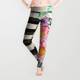 Modern stripes and tropical flowers hand paint Leggings