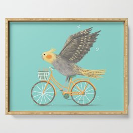 Cockatiel on a Bicycle Serving Tray