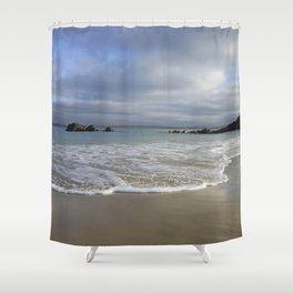 Sea foam on Reflective Sand Shower Curtain