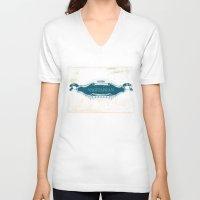 lesbian V-neck T-shirts featuring VAGITARIAN LESBIAN by SLANTEDmind.com