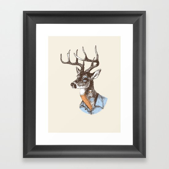 Lucienne the crying deer (with tattoos) Framed Art Print