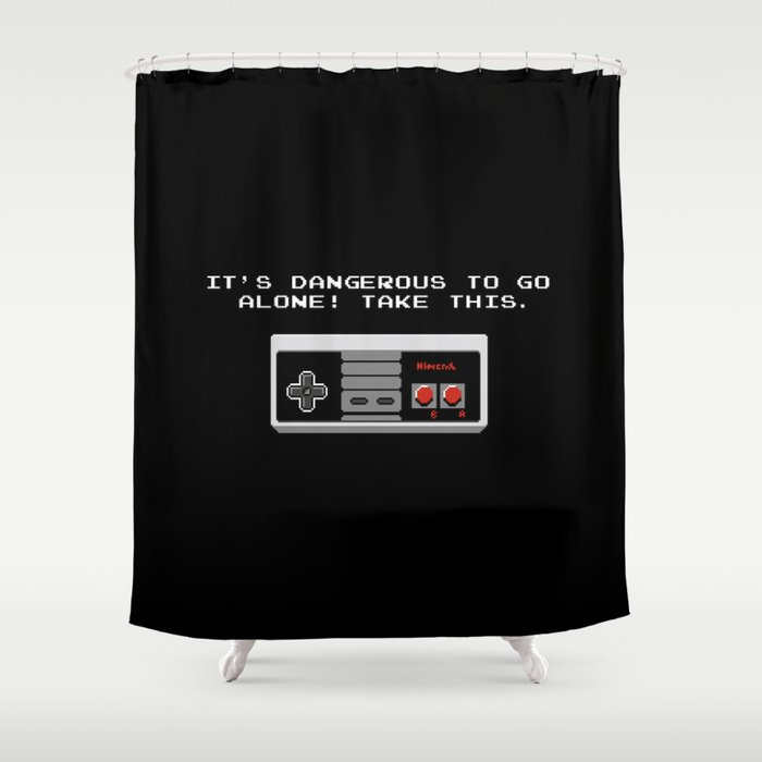 Great Its Dangerous To Go Alone Take This Video Game Shower Curtain