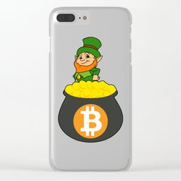 Leprechaun Bitcoin Pot Of Gold St Patricks Day HODL Clear iPhone Case