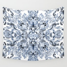 Indigo, Navy Blue and White Calligraphy Doodle Pattern Wall Tapestry