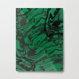 Suminagashi marble malachite green marbled pattern spilled ink abstract art Metal Print