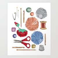 sewing Art Prints featuring Sewing by Jennifer Epstein