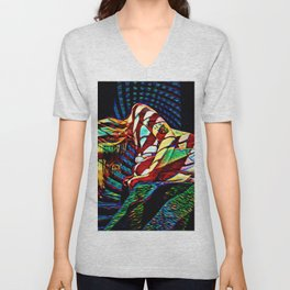 1894s-MS Crouching Woman Abstract Art Nude Unisex V-Neck