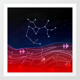 Sagittarius Zodiac Constellation Design Art Print