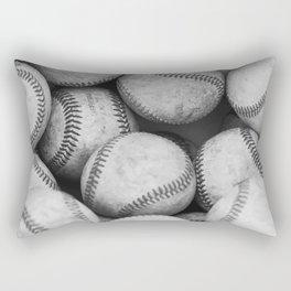 Baseballs Black & White Graphic Illustration Design Rectangular Pillow