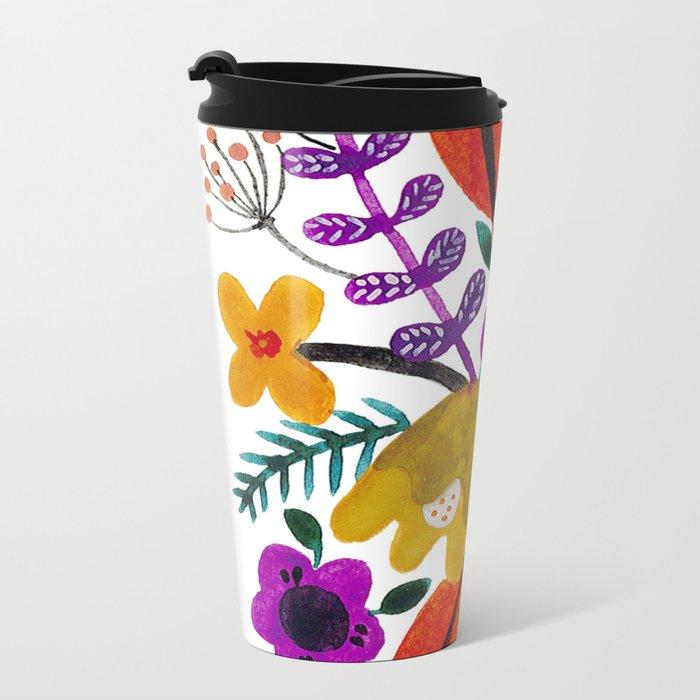 Gouache Florals Metal Travel Mug