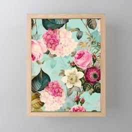 Vintage & Shabby Chic - Summer Teal Roses Flower Garden Framed Mini Art Print
