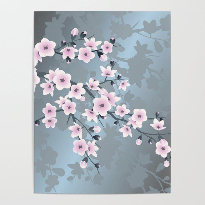 4ec762787 Dusky Pink Grayish Blue Cherry Blossom Poster by ninabaydur   Society6