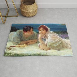 Paolo and Francesca in Love in Fields of Aster on Hillside of Coast of Tuscany, Italy Rug