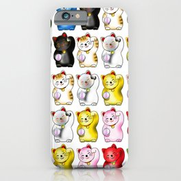 Maneki neko left paws pattern iPhone Case