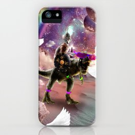 Cat Riding Dinosaur With Flying Space Ice Cream iPhone Case