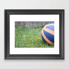 Basketball on Grass Framed Art Print