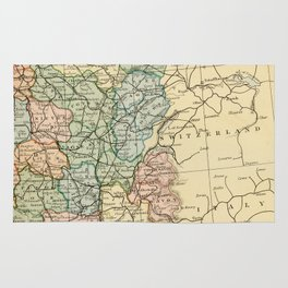 Old Map of the East of France Rug