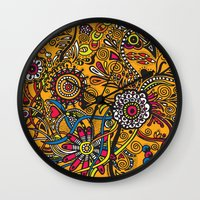 leah flores Wall Clocks featuring Flores by Cris Couto