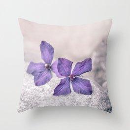Zen Soft Pastel Purple Clematis Blossom Throw Pillow