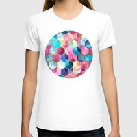 crystal T-shirts featuring Topaz & Ruby Crystal Honeycomb Cubes by micklyn
