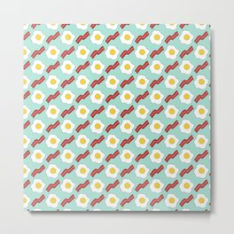Eggs and Bacon - Hand-drawn Breakfast Pattern Metal Print