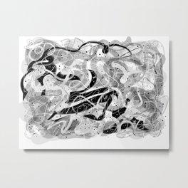 Zen Brush abstract expressionist calligraphic brushwork Metal Print