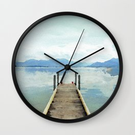 Dreamy lake in watercolor Wall Clock