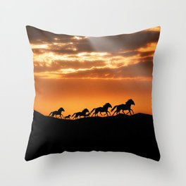 Horses in sunset Throw Pillow