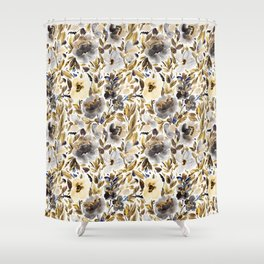 Gold and Grey Fall Feels Floral Shower Curtain