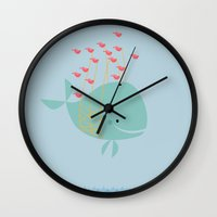 the whale Wall Clocks featuring Whale by Zen and Chic