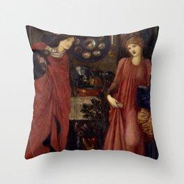"Edward Burne-Jones ""Fair Rosamund and Queen Eleanor"" Throw Pillow"