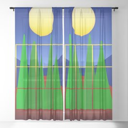 Heaven and Earth abstract Sheer Curtain