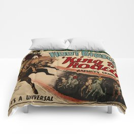Vintage Western Movie Poster Rodeo King Comforters