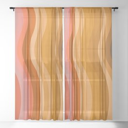 Groovy Wavy Lines in Retro 70s Colors Sheer Curtain