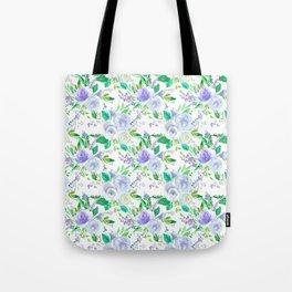 Elegant lilac purple green watercolor hand painted floral Tote Bag