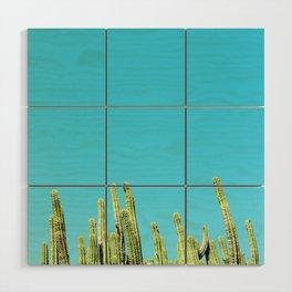 Desert Cactus Reaching for the Blue Sky Wood Wall Art
