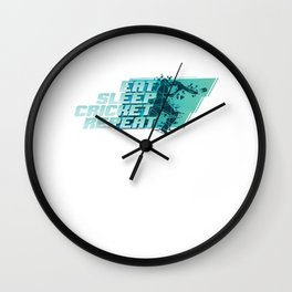 Eat Sleep Cricket Repeat Players Equipment Field Game Cricket-Bat Ball Gift Wall Clock