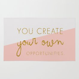 You create your own Opportunities quote in glitter gold Rug