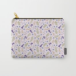 Ditsy Bunnies Amok - Purple Bunnies, Pink Background Carry-All Pouch