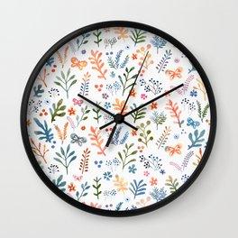 Rainbow Floral Pattern Wall Clock