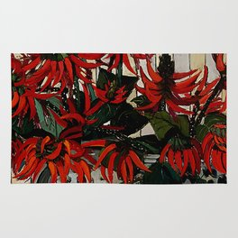 """Coral Flowers"" by Australian Artist Margaret Preston Rug"