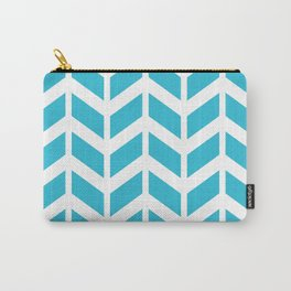 Blue and white chevron pattern Carry-All Pouch