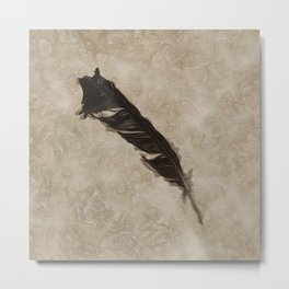 Antique Crow Feather Metal Print