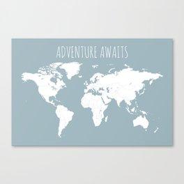 Adventure Awaits World Map in Slate Blue Canvas Print