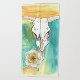 South West Cow Skull Beach Towel