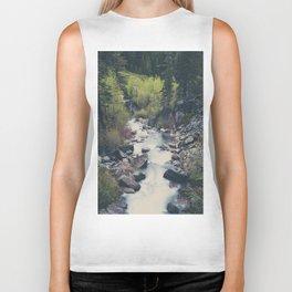 a mountain stream weaves down amongst the trees above Lake Tahoe Biker Tank