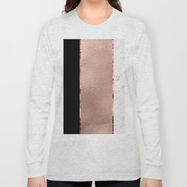Rose metallic striping - marble and onyx Long Sleeve T-shirt