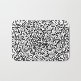 Circle of Life Mandala Black and White Bath Mat