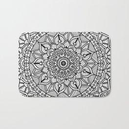 Circle of Life Mandala Black and White Bath Mat