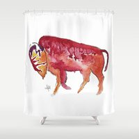 bison Shower Curtains featuring Bison by Armyhu
